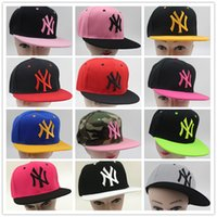 Wholesale Ny Fitted Hats Wholesale - 200pcs NY Snapback Solid Embroidery Cotton Baseball Caps Snapback Caps Hip Hop Hats Christmas Gifts for Women Ball hat