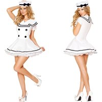 Wholesale Sailor White Uniform - New White Sailor Costume Sexy Cosplay Halloween Women Dress Uniform Temptation Club Party Clothing Hot Selling