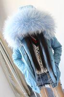 Wholesale Pink Jacket Fur Collar - Lady furs mini parka women fashion fur jacket hood with real raccoon furs collar mr&mrs same style