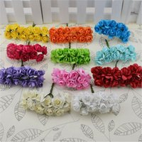 12pcs / lot mini flor de papel de Rose Handmake Artificial Flower Bouquet Decoración DIY Wreath regalo Scrapbooking Artesanía Fake Flor