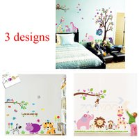 Wholesale Jungle Animal Removable Wall Stickers - 100pcs 3 designs: ZY5099 9046 869 giraffe lion elephant animals tree jungle cartoon wall stickers for kids room decorations zoo home decals