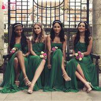 Wholesale Green Strapless Summer Dress - Green Soft Bridesmaid Dresses Amazing Beautiful Strapless Long Wedding Guest Gowns A Line summer Wedding Event Dresses Cheap Dresses