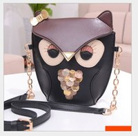 Wholesale Plum Owl - 2016 New Arrival Cartoon Owl Golden Bowknot Sequined Cross Body Big Girls Bag Fashion Women Bags Cute Girl Bags 5pcs lot
