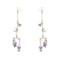 Bohemia Geometry Boucles d'oreilles en cristal Contracted Personality Tassel Boucles d'oreilles 24K Gold Plated Water Drop Long Perles Boucles d'oreilles Lovely Gifts