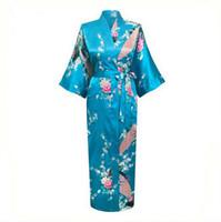 Wholesale Long Satin Nightgowns Women - Wholesale-Blue Floral Sexy Women Satin Robe Nightgown Print Sleepwear Housecoat Long Kimono Gown Plus Size S M L XL XXL XXXL NR015