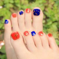 ingrosso disegni del chiodo del piede-Fashion Design unghie finte adesivo multi colori 10x22pcs / Lot adesivi punta del chiodo bellezza autoadesivo del chiodo falso decorazione nail art piedi adesivi