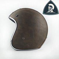 Wholesale Helmet Size Xl - Adult Sizes Leather Motorcycle Open Face Helmets Road With Clear Bubble Len China Vespa Open Face Retro Helmet Scooter Motorcycle