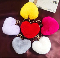 Wholesale Trendy Yellow Handbags - Loving Heart Shape Rabbit Fur Ball Fluffy Round Ball Metal Keychain Keyring Car Keychains Purse Charms Handbag Pendant Best Gift