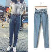 Wholesale American Apparel Xs - High Waist Jeans Women American Apparel Loose Boyfriend Blue Jeans for Women Denim Pants Jean femme