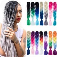 ombre trançando o cabelo venda por atacado-ZF cabelo jumbo trança ombre dois três cores cabelo 24 polegada 100g cores misturadas pessoas negras moda sythetic