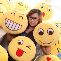 Wholesale Lovely Smiley - 12cm Cushion Cute Lovely Emoji Smiley Pillows Cartoon Facial QQ Expression Cushion Pillows Yellow Round Pillow Stuffed Plush Toy