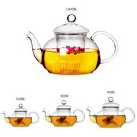 Wholesale wholesale glass teapot - Wholesale-High Quality Heat Resistant Glass Teapot With Infuser Coffee Leaf Herbal 350ML 600ML 800ML1000ML