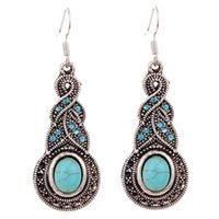 Wholesale Tibetan Charms Heart - Summer Fine and Fashion Jewelry Charming Ethnic Tibetan Silver Oval Turquoise Style Drop Dangle brincos Earrings for Women