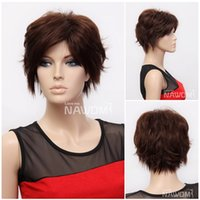 Wholesale Hairpieces For Short Hair - T0071 Synthetic Short Hairpiece For Women 12 inches Light Brown Hair Wigs 100% Kanekalon Hot Selling