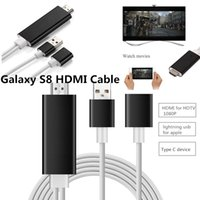 2M 3in1 High Speed ​​Alumínio HDMI HDTV AV Cabos Para Iphone 6S 6 Plus Galaxy S8 Tipo C Dispositivo para cabo HDMI 1080P