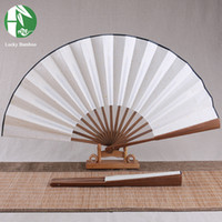Wholesale Chinese Xuan Paper - Wholesale- Chinese bamboo folding hand fan leque traditional antique imitation crafts DIY Xuan paper writing random wholesale