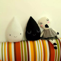 Wholesale Teddy Smiling - New 40*25cm Soft Handmade Pillows for Kids Room Black and White Rain Drops Cushion With Smile Decorative Pillows for Children