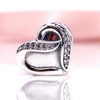 Wholesale Sterling Silver Ribbon Necklaces - 925 Sterling Silver Ribbon of Love Charm With Clear CZ Fit European Pandora Style Jewelry Bracelets Necklaces & Pendant 791816CZ