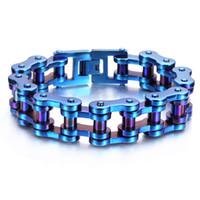 Wholesale Woods Motors - European fashion mens Colorful stainless steel biker jewelry heavy motor bicycle bike chain bracelets free shipping