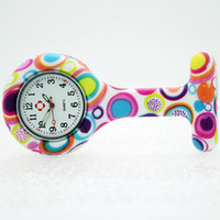 Wholesale Professional Nursing - 100pcs lot free shipping white face fashion prints round print nurse watch doctor silicon Colourful Professional Useful Medical Watch