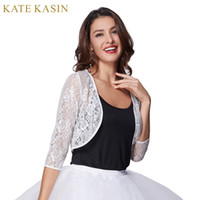 Wholesale Kate Coat - Wholesale- Kate Kasin 2017 Summer Bolero 3 4 Sleeve Shawl Women Thin Lace Open Stitch Coat Sexy White Casual Jacket Cheap Vestidos Top