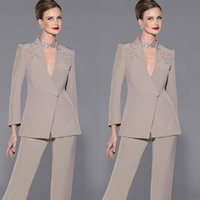 Wholesale Dark Blue Suits - Elegant Mother Of Bride Pan Suit Long Sleeves Appliques Satin Mother Of The Bride Custom Made Formal Suit