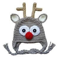 Wholesale crochet reindeer hats for sale - Group buy Adorable Reindeer Hat Handmade Knit Crochet Baby Boy Girl Rudolf Red Nose Moose Hat Christmas Costume Infant Toddler Animal Photo Prop