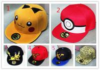 pokemon gorra de béisbol al por mayor-6 Estilo poke sombreros del snapback los niños del algodón del béisbol Deportes adultos de la historieta Hip Hop Picacho tapas de hockey Deporte Sombrero