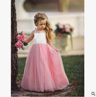 ingrosso pannello esterno pieno di organza-Toddler and Child Full Length Tutu Skirt Flower Girls Abiti Little Girls abiti da comunione Puffy Gonne Princess Gowns