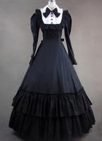 cosplay viktorianische kleider großhandel-(GT012) Voll Sleeveless Halloween Cosplay Langarm Bowknot Kostüme Gothic Victorian Prinzessin Kleid Ballkleid Lolita Kleider