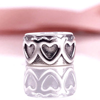 Atacado Autêntico 925 Sterling Silver Row Of Hearts Clip E Fecho Fits For DIY Pandora Style Jewelry Bracelets 791978