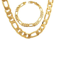 "Wholesale Mens Figaro Chain Bracelet - Mens Accessories 18k Yellow Gold Filled Mens Necklace Bracelet Set Figaro Chain Set (24""+8.6"")"
