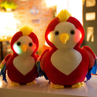 parrot soft toys al por mayor-10pc Talking Sound Record Led Sonido Peluche relleno Parrot Flashing Soft Toy Peluches Animales Doll Night Iluminar Parrot Toy Brillante