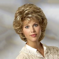 Wholesale Cheap Blonde Synthetic Wigs Curly - Hot sell Cheap Heat Resistant Synthetic African American Blonde Wig For Middle Age Women Natural Short Curly Wigs