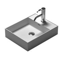 Wholesale rectangular wash basins - Rectangular Bathroom Solid Surface Stone Under Counter Sink Fashionable Wash Basin Cloakroom Matt Or Glossy Vessel Sink RS38338