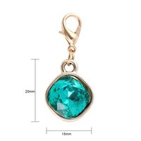 Wholesale Clear Glass Lockets Wholesale - Gold Plated Clear Crystal Floating Locket Dangle Charm Pendant DIY Floating Charm Jewelry Making for Glass Locket