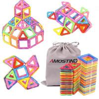 manyetik plastik blok toptan satış-64 ADET Çocuklar Manyetik Bloklar İnşaat Enlighten Montaj Yapı Taşları Oyuncaklar Çocuklar Eğitim DIY Plastik Teknik Tuğla