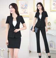 Wholesale Formal Wear Uniforms - Wholesale-Office Uniform Designs Women Business Suits Formal Pant Suits Ladies Work Wear Blazer Sets
