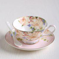 Wholesale Ceramic Coffee Cups Saucers - 2017 New Wholesale Fashion Classic Bone China Ceramic Tea Cups England Royal Coffee Tea Cups And Saucers Set Gife Box