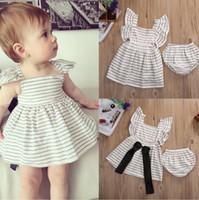 Wholesale Baby Bloomer Dress - Kids baby Girls Stripe Bowtie Dress+Bloomers 2pcs Set baby Children Princess Dress Clothing Set Pro Sale MSG081