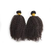 cabelo humano misturado 24 venda por atacado-100% 6 pcs Extensões de Cabelo Humano Malaio Trama Dupla Kinky Curly tecer preto natural Não Transformados Cabelo Humano Weave Mix comprimento 8