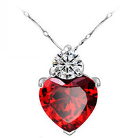 Wholesale Korean Selling Model - Explosion models Korean version of the trend of selling S925 Silver Amethyst Heart Pendant Necklace Dream short paragraph clavicle chain who