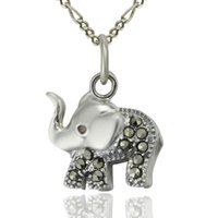 Wholesale China Charms Suppliers - Thai Silver .925 Cute Elephant Pendant, Lucky Charm Marcasite Jewelry with Red CZ Wholesale China Supplier- PS03114