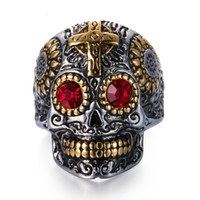Wholesale Stainless Skull Rings - Vintage Gothic Skull Biker Titanium Stainless steel Punk Harley motorcycles Skull Skeleton Cross male Ring For man Free Shipping