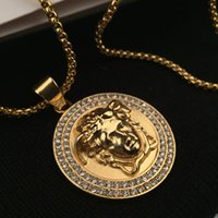 Wholesale Men Jewelry Accessory - Top Quality Medusa Pendant Necklaces For Men 2017 Hot Hiphop Jewelry Gold Plated Luxury Accessories Free Shipping