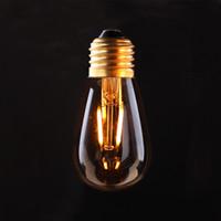 cam edison kolye toptan satış-Amber Cam ST45 LED Filament Ampul Edison Inci Lamba 1 W 2200 K E26 E27 Baz Dekoratif Sarkıt Dim