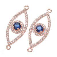 Wholesale Silver Chain Turkey - 2016 Fashion Women Evil Eye CZ Bracelets Accessory Jewelry Charm Blue Turkey Eye Connectors
