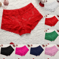 Wholesale Transparent Sexy Woman Boxers - Wholesale-Seamless Sexy Underpants Women Boxer Shorts Rose Lace Panties Boyshort Female Knickers Full Lace Transparent Boxers Underwear Y3