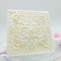 Wholesale 10Pcs set Romantic Wedding Party Event Invitation Card Birthday Business Party Invitation Cards Envelope Delicate Carved Pattern
