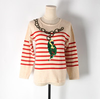 Wholesale Thin Summer Sweaters - 2017 New Fashion Spring Summer Women Sweater O-neck Full Sleeve Striped Pullovers Computer Knitted Tops Female Coat Haute Coutur